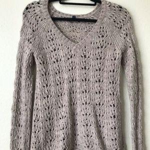American Eagle Tan Crochet Sweater
